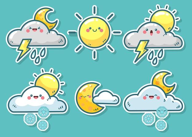Коллекция рисованной погодных элементов