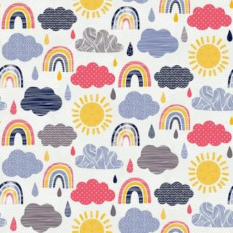 Hand drawn weather seamless pattern