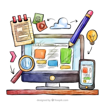 Концепция рисованной веб-дизайна