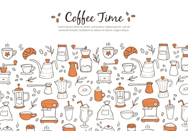 Hand drawn of website banner template with assorted coffee makers and desserts on white background. doodle sketch style.