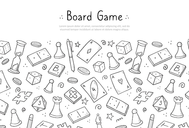 Hand drawn website banner template with of board game element. doodle sketch style.