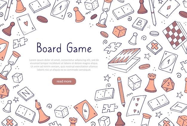 Ручной обращается шаблон баннера веб-сайта с элементом настольной игры. стиль эскиза каракули.