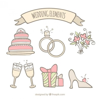 Hand drawn wedding accessory collection in soft tones