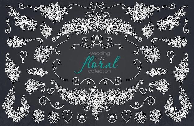 손으로 그린 결혼식과 휴일 컬렉션입니다. 나뭇가지, 화환, 꽃이 있는 스케치된 프레임의 흑백 벡터 세트.