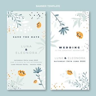 縦の手描きの結婚式のバナー