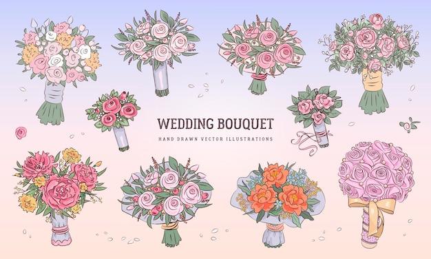 Hand drawn wedding bouquet set
