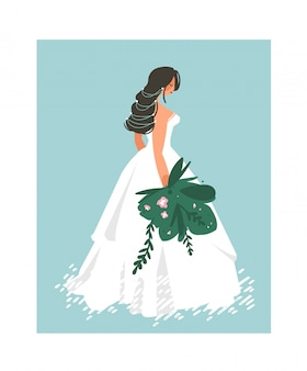 Hand drawn   wedding bridal in white dress illustration  on blue background