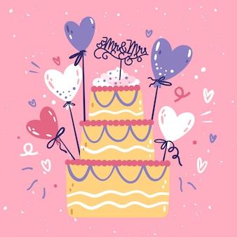 토퍼와 함께 손으로 그린 된 웨딩 케이크