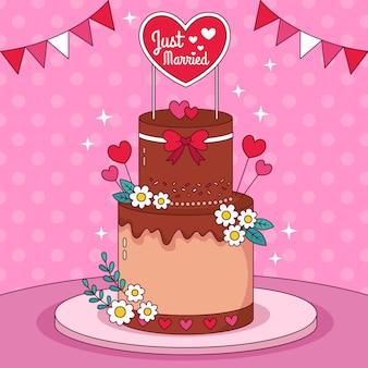 토퍼가 있는 손으로 그린 웨딩 케이크