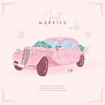 Hand drawn wedding car