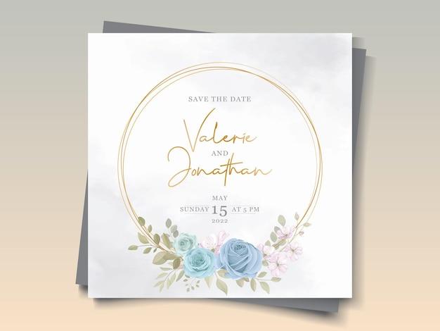 꽃 블루 장식으로 손으로 그린 웨딩 카드 디자인
