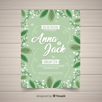Hand drawn wedding card template