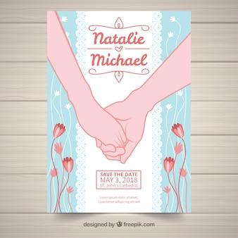 함께 손으로 그려진 된 웨딩 카드를 손