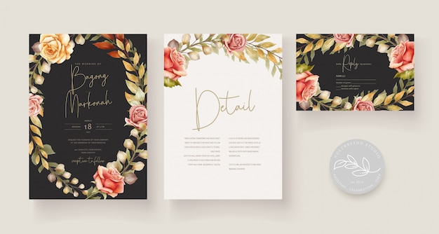 Hand drawn wedding card