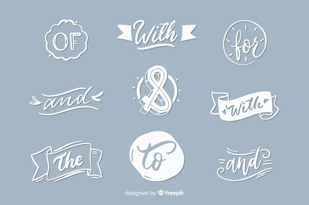 Hand drawn wedding catchword collection