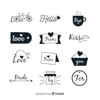 Hand drawn wedding catchword collection