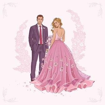 Ручной обращается свадебная пара фон