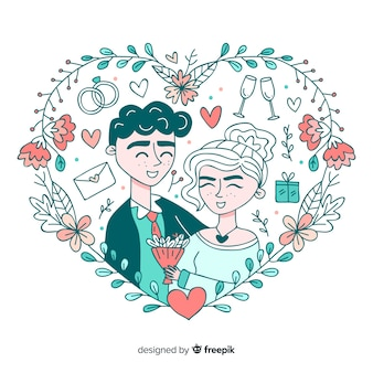 Hand drawn wedding couple background