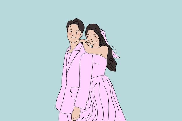 Рисованная свадебная пара, свадьба, брак, иллюстрация концепции свадьбы