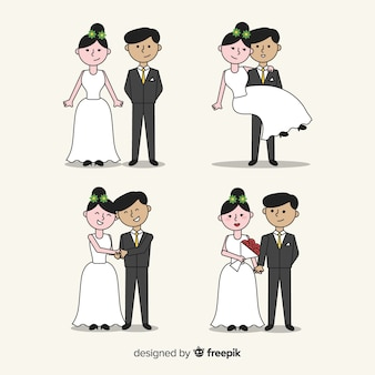 Hand drawn wedding couple collection