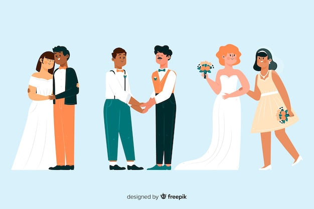 손으로 그린 웨딩 커플 컬렉션