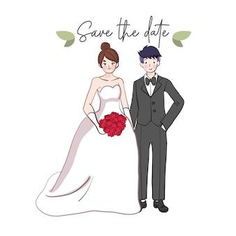 手描きの結婚式のカップル。かわいい結婚式の新郎新婦。