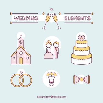 Hand drawn wedding couple and essential elements