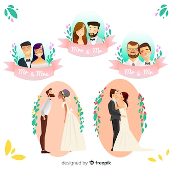 Hand drawn wedding couple set