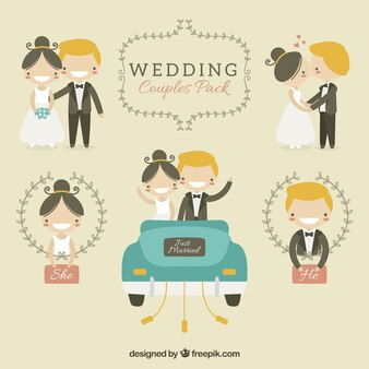 Hand drawn wedding couple smiling pack