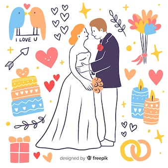 Hand drawn wedding couple with elements