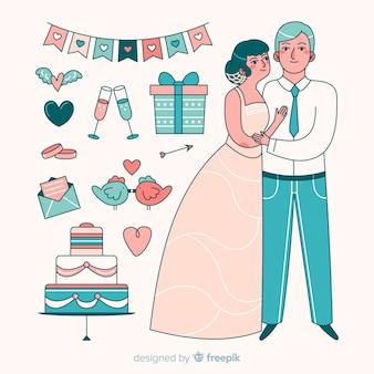 요소와 손으로 그린 웨딩 커플