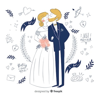 Hand drawn wedding couple with ornaments