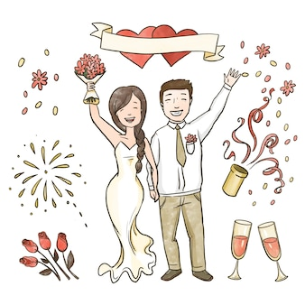 Hand drawn wedding couples celebrating