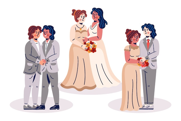 Hand drawn wedding couples collection
