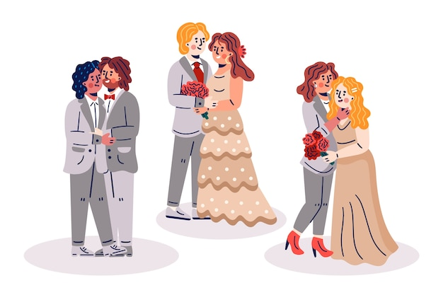 Hand drawn wedding couples pack