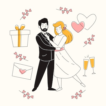 Hand drawn wedding couples with gift and hearts