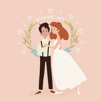 葉の王冠と手描きの結婚式のカップル