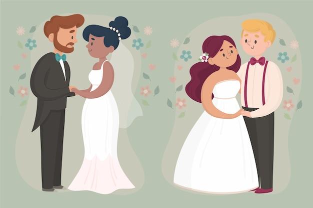 Hand drawn wedding couples