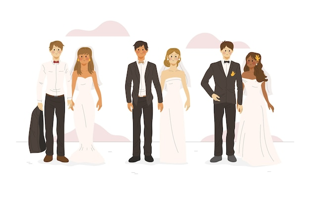 Hand drawn wedding couples