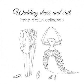 Hand drawn wedding dress and suit set