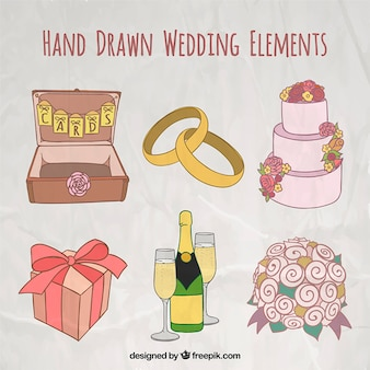 Hand drawn wedding elements in colors