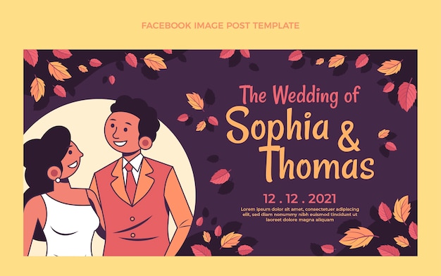 Modello di post di facebook di matrimonio disegnato a mano