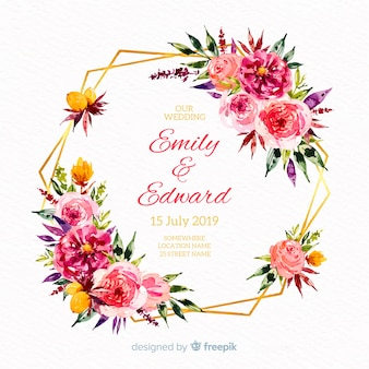 Hand drawn wedding floral background