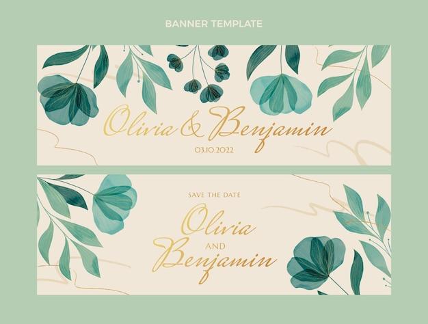 手描きの結婚式の花の水平バナー