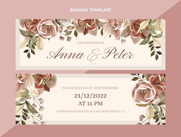 Набор рисованной свадебных горизонтальных баннеров