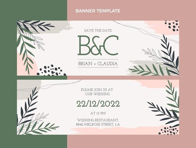 Hand drawn wedding horizontal banners Premium Vector