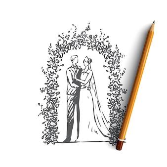 Нарисованная рукой свадебная иллюстрация