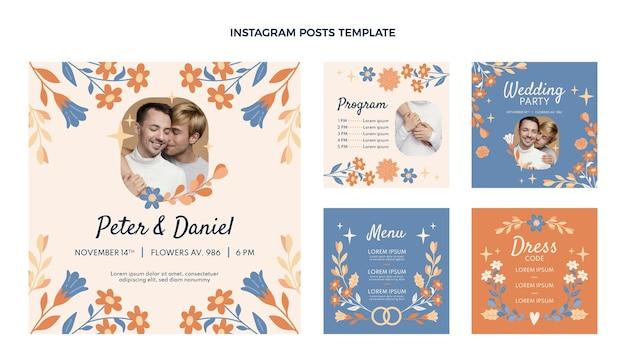 Collezione di post di instagram di nozze disegnati a mano