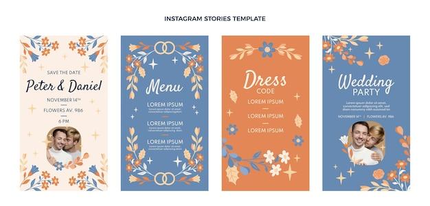 Hand drawn wedding instagram stories collection