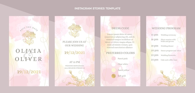 手描きの結婚式のinstagramの物語